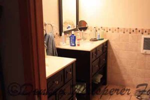 master bathroom with heated tile floors on a timer