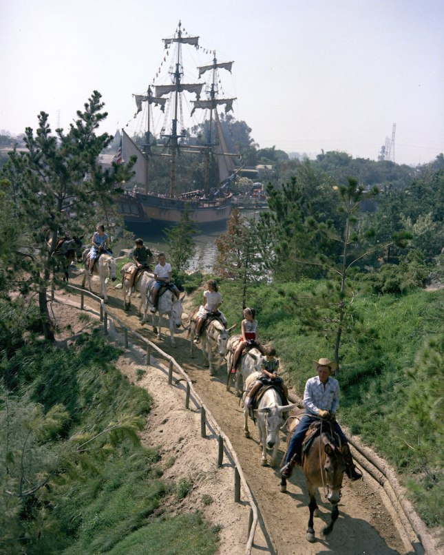 PACK MULES THROUGH NATURE'S WONDERLAND (1960) -- Guests could see the sites of Frontierland and Nature's Wonderland while riding real mules. Mules had been a part of Frontierland since opening day.
