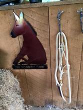 on donkey time sign and rope halter